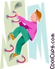 Vector Clip Art image  of a boy rock climbing