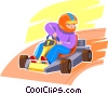 Vector Clipart illustration  of a youth in a go cart