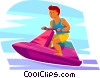 Vector Clip Art graphic  of a Boy on a personal watercraft