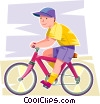 Boy on his bicycle Vector Clip Art graphic