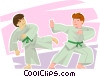 Boys demonstrating martial arts Vector Clip Art image