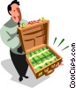 man with a briefcase full of money Vector Clipart illustration