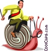 Vector Clip Art picture  of a Businessman riding a snail