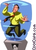 Businessman caught in a water cooler Vector Clip Art picture