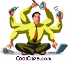 Vector Clip Art graphic  of a Businessman multi-tasking