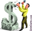 Businessman sculpting a dollar sign Vector Clipart illustration