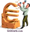 Vector Clip Art image  of a businessman sculpting a euro