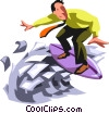 Vector Clip Art image  of a Surfing