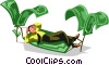 Vector Clip Art graphic  of a businessman in a hammock made