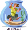 Vector Clip Art graphic  of a businesswoman caught in a fish