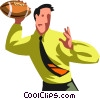 Vector Clipart image  of a Businessman football player