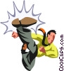 kung fu businessman Vector Clip Art graphic