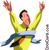 Vector Clipart image  of a Businessman winning a race