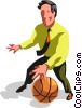 Businessman basketball player Vector Clipart illustration