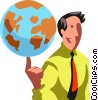 man spinning the world on his finger Vector Clipart graphic