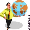 Vector Clipart illustration  of a businessman holding the world