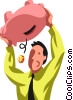 Vector Clip Art graphic  of a businessman with a piggy bank