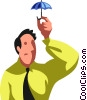 Businessman with a small umbrella Vector Clipart illustration