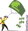 Vector Clip Art image  of a businessman flying a money