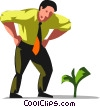 businessman looking at his money tree Vector Clip Art picture