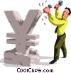 Vector Clipart picture  of a businessman sculpting a yen