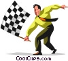Vector Clip Art graphic  of a Businessman waving checkered