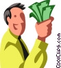 businessman holding money Vector Clip Art graphic