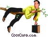 Vector Clipart image  of a Businessman on a tree limb