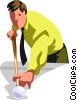 Vector Clipart graphic  of a Businessman playing pool