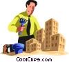 Businessman building a sand castle Vector Clipart illustration