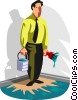 man painted himself into a corner Vector Clip Art picture