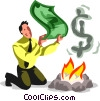 Vector Clip Art picture  of a businessman fanning the flames