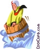 man going over the falls in a barrel Vector Clipart illustration