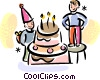 boys celebrating their birthday Vector Clipart graphic
