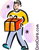 Vector Clipart illustration  of a boy bringing a gift