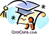 Diplomas and Caps Mortar Boards Vector Clipart illustration