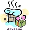 Vector Clipart picture  of a present laying beside the