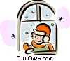 Children in Winter Vector Clip Art graphic