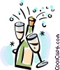 Champagne bottle and glasses Vector Clip Art image