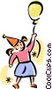 girl with a birthday balloon Vector Clipart picture