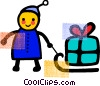 Vector Clipart image  of a Children in Winter