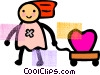 Vector Clip Art image  of a Children in Summer