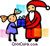 Vector Clip Art graphic  of a Santa giving a gift to a girl