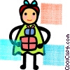 girl holding a present Vector Clipart graphic