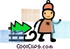 person pulling a tree on a sled Vector Clip Art picture