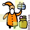 Vector Clipart graphic  of a Santa with gifts
