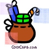 Vector Clip Art graphic  of a sack full of toys