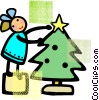 Vector Clip Art image  of a girl placing a star on a tree