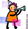 Vector Clip Art image  of a girl and a noise maker