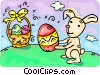 Easter bunny delivering Easter eggs Vector Clip Art image